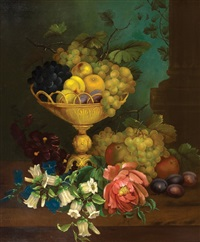still life with fruit and flowers by e. steele