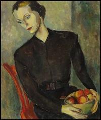 femme au plateau de fruits by louise gadbois