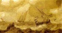 schiffe auf bewegter see by julius porcellis