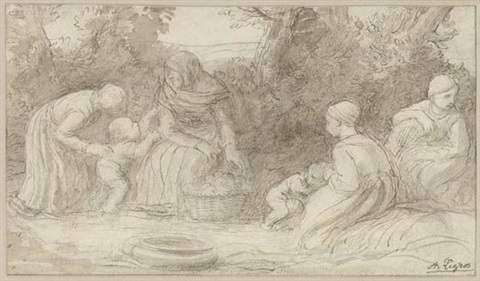 women and children by a river by alphonse legros