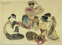 lady of the water (+ women's card party; 2 works) by bui ngoc tu