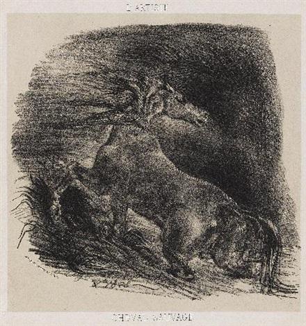 cheval sauvage ou cheval éffrayé sortant de leau by eugène delacroix