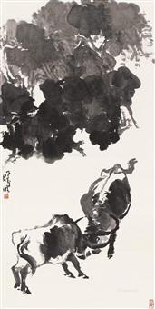 斗牛图 立轴 水墨纸本 (cattle) by lin ximing