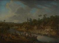 festivités villageoises au bord du fleuve by mathys schoevaerdts