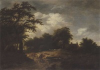 landscape with cattle on a woodland path by gillis rombouts
