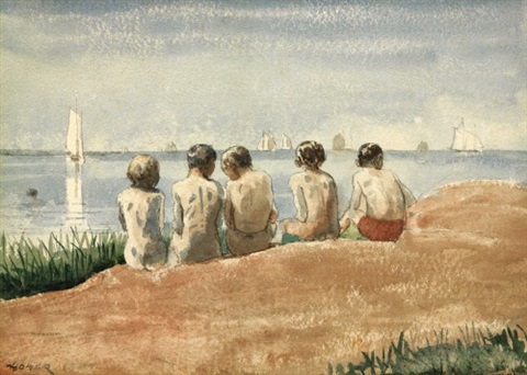 five boys at the shore gloucester by winslow homer