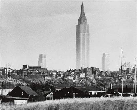 the empire state building seen across the hackensack river marshes by andreas feininger