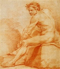 a seated male nude by karel van mander iii