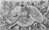 decorative design with arms and shields and putti playing trumpets by jean lepautre
