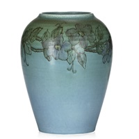 ovoid decorated mat vase with florals by margaret h. mcdonald