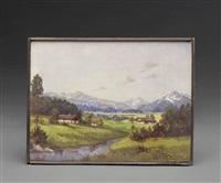blick auf watzmann und untersberg mit der kirche von aigen, salzburg by hans sengthaler