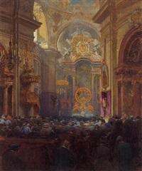 hochamt in der piaristenkirche by heinrich tomec