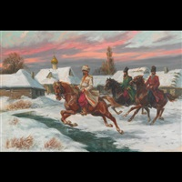 cossacks on horseback, winter by leszek piaseck