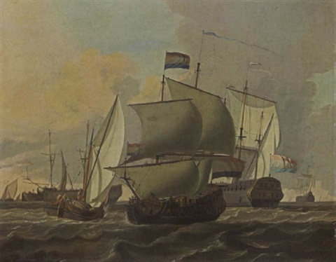 merchantmen a kaag and other sailing vessels in a stiff breeze by adam silo