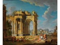 ruinencapriccio mit mythologischer szene by hendrick frans van lint