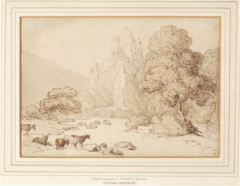 okehampton castle devon by thomas rowlandson