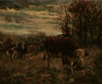 women with cattle in landscape by francesca alexander
