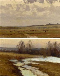 russian landscape (+ another similar, sgd., insc.; pair) by vasili (vladimir) vasilievich perepletchikov