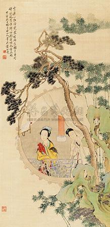 松竹仕女 by huang shanshou