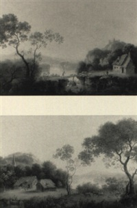 extensive river landscapes with thatched cottages and herdsmen by william smith