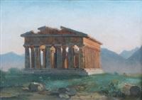 vue du temple de paestum by jean charles joseph remond