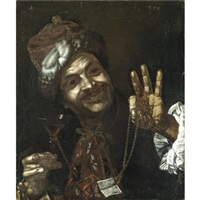 portrait of a smiling man holding up a wine-glass and a gold chain by pietro bellotti