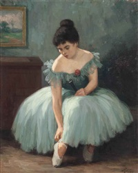 a ballerina tying her shoes by helge helme