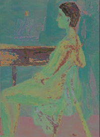 mujer desnuda sentada by luz helena caballero