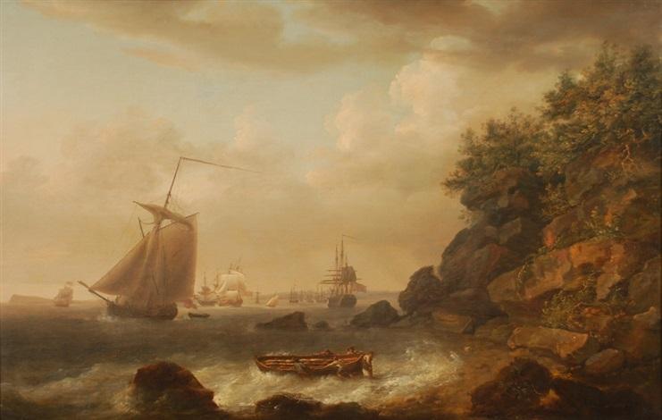 paysage côtier avec nombreux voiliers by nicholas pocock