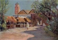 marché à la porte de la ville arabe by albert lepreux