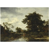 wooded landscape with a woman by a river by gerrit van hees
