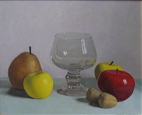 still life of apples, pear, nuts and glass by jacques blanchard