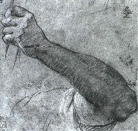 study of an arm holding a rope by orazio fidani