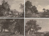 shooting (set of 4, after george townley stubbs) by william woollett