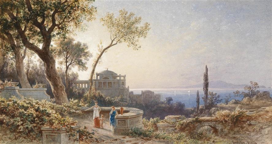 italienische küste mit figuren auf einer terrasse by friedrich wilhelm albert dressler