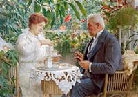 ein ehepaar beim cafe im wintergarten by vlacho bukovac
