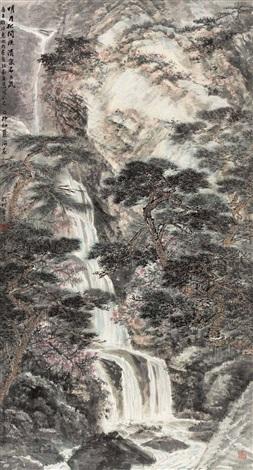 松月飞泉图 landscape by xiao haichun