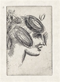 female head (woman's head with ribbons)* female head (girl's head in profile * female head (woman's head in profile) (3 works, various sizes and conditions) by elie nadelman
