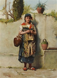 girl at a well by adriano cecchi