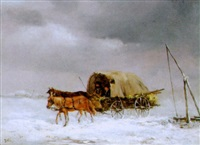 winterliche flußlandschaft mit planwagen by joseph wolfram