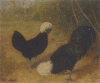 poland rooster and hen in a landscape by frits maris