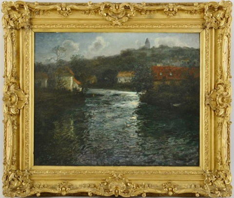 moonlight canal scene by frits thaulow