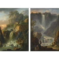 view of the grand cascade and the cascade del marmore at terni, near rome (+ another; pair) by claude louis châtelet