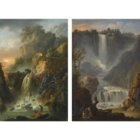 view of the grand cascade and the cascade del marmore at terni near rome another pair by claude louis châtelet