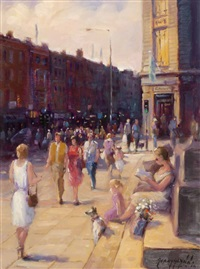 crossing o'connell street - dublin by gerry glynn