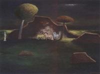 paarden bij ruïne by ger (gerardus petrus) langeweg