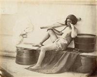 femme de l'île de la madeleine (fatu hiva) sur le pont d'un navire, iles marquises by paul-emile miot