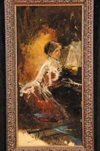 signora al pianoforte by antonio mancini