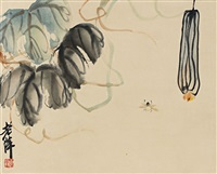 葫芦图 (bee and loofah) by qi baishi
