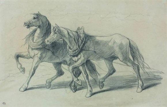 deux chevaux (study) by théodore valerio
